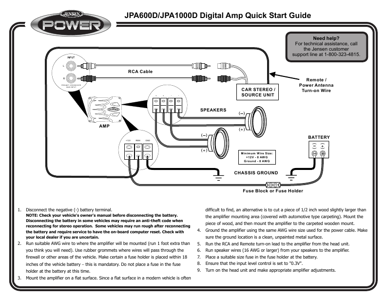 Subwoofer Amplifier Wiring Help Manual Guide