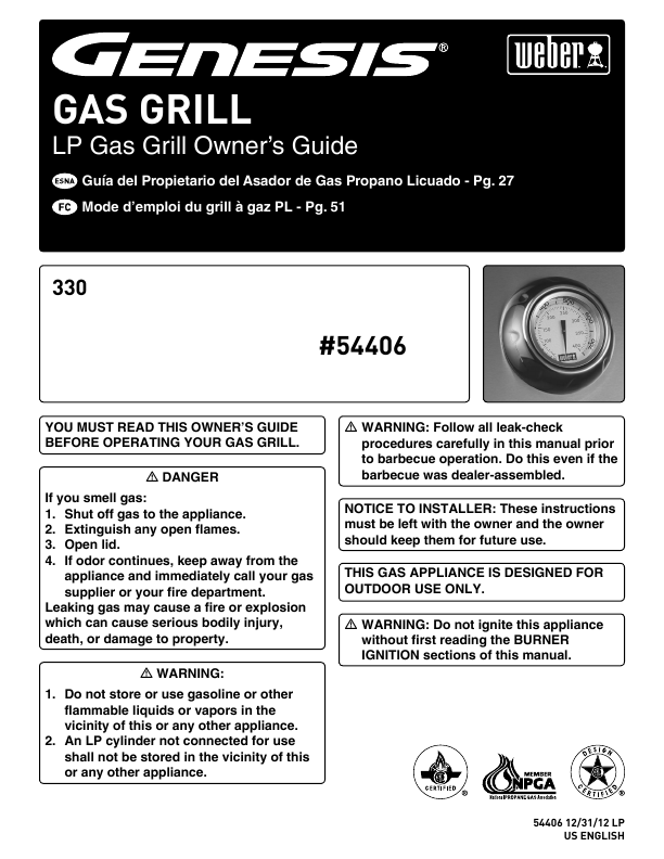 Search Weber Lp Gas Barbecue User Manuals Manualsonline