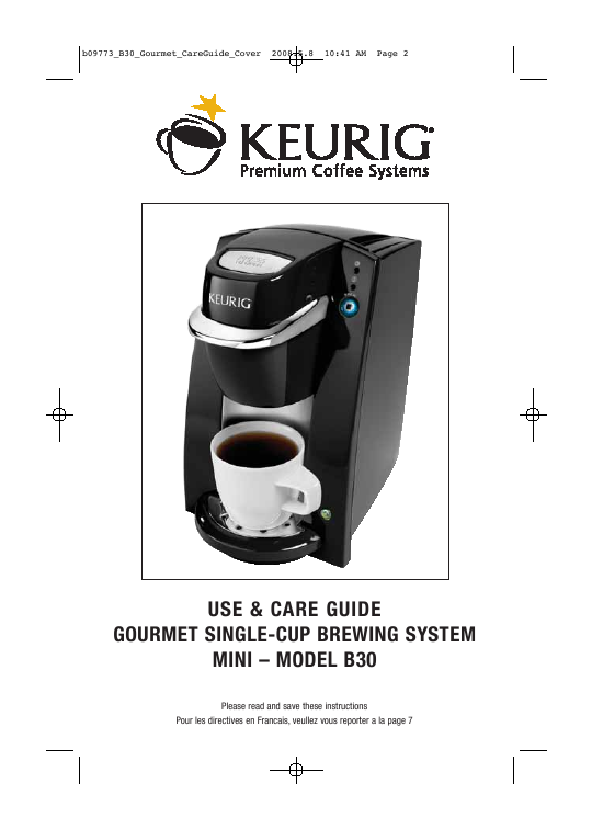 Keurig Coffee Maker Instructions : Keurig Coffeemaker B30 User s Guide ManualsOnline.com