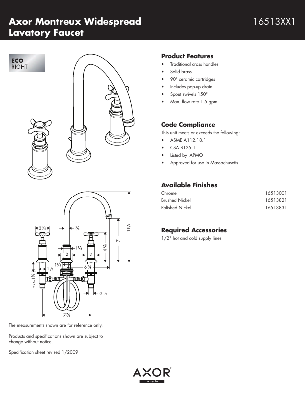 Axor Plumbing Product 16513XX1 User 39 S Guide