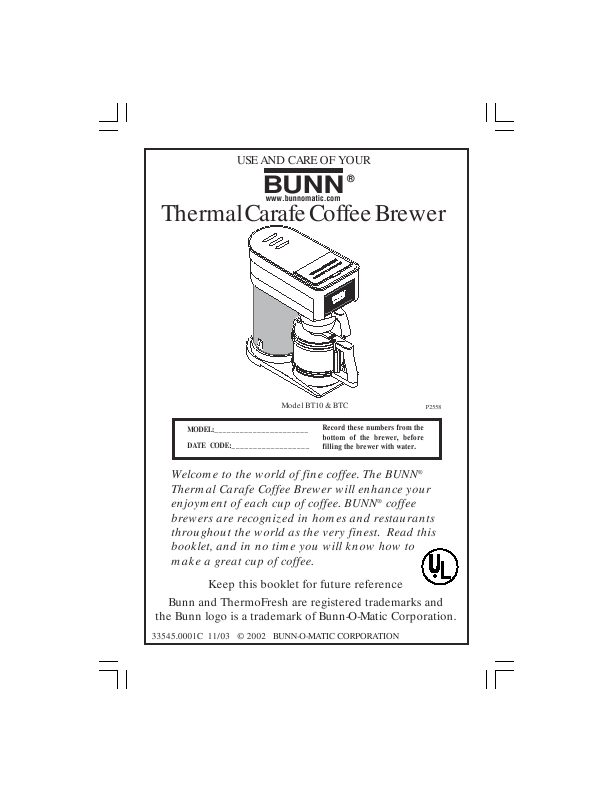 Bunn Coffee Maker User Guide : Bunn Corporation USE AND CARE Thermal Carafe Coffee Brewer ManualsOnline.com