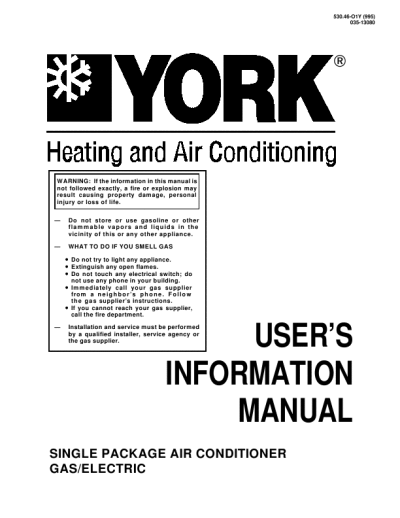 search york a johnson controls company p3ucd user manuals rh homeappliance manualsonline com york air conditioner specifications york air conditioner specifications