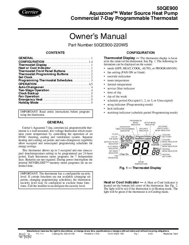 carrier heat pump thermostat manual