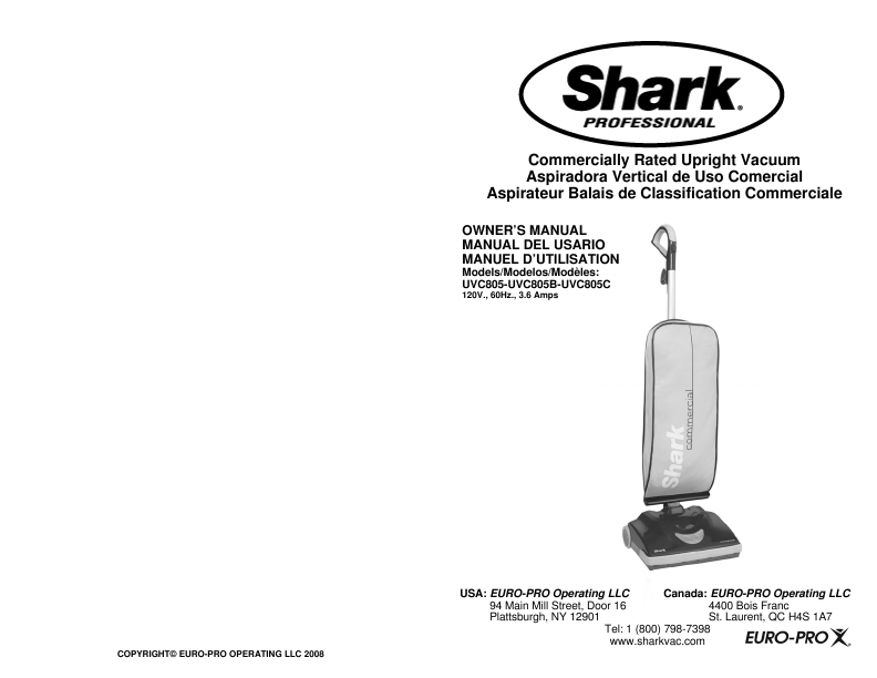 shark rated upright vacuum uvc805