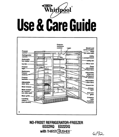 whirlpool gold side by side refrigerator manual image refrigerator rh nabateans org whirlpool gold refrigerator manual troubleshooting whirlpool gold refrigerator parts diagram