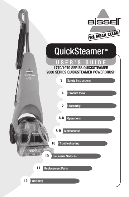 Bissell Cleanview Quickwash Carpet Cleaner Manual Download