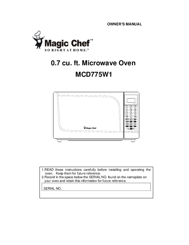 magic chef convection oven manual