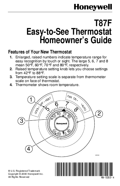 Honeywell Thermostat T87f User U0026 39 S Guide