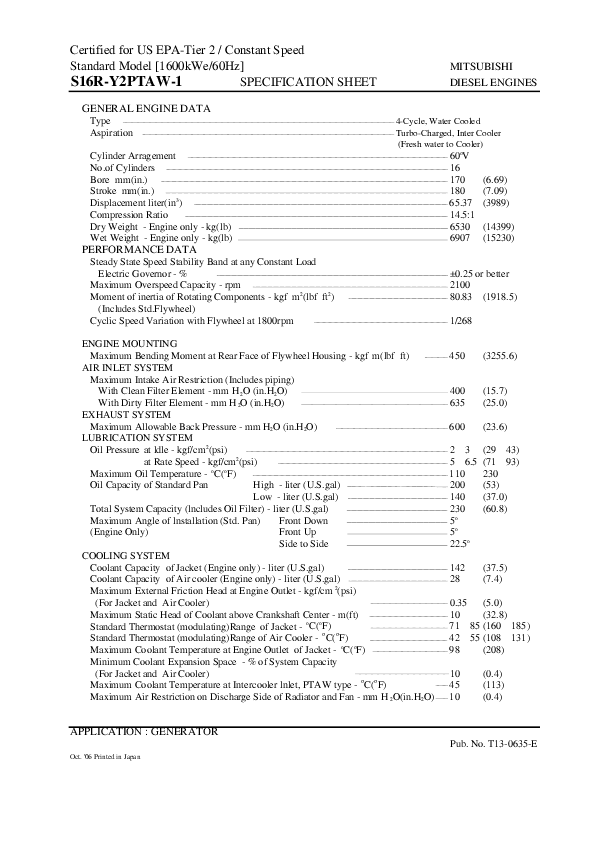 Baldor Electric Company Diesel Engines Specification Sheet
