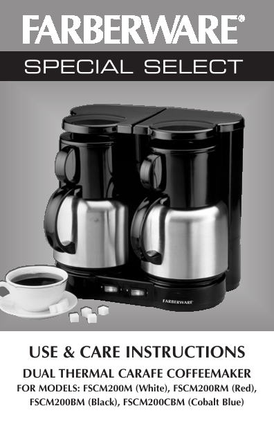 Farberware Automatic Coffee Maker Instructions : Salton Coffeemaker FSCM200M, FSCM200RM, FSCM200BM, FSCM200CBM User s Guide ManualsOnline.com