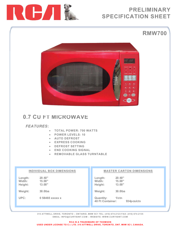 rca microwave oven rmw700 user 39 s guide. Black Bedroom Furniture Sets. Home Design Ideas