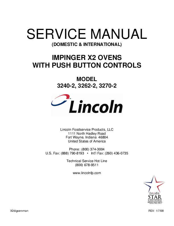 Lincoln Ovens With Analog Controls Service Manual