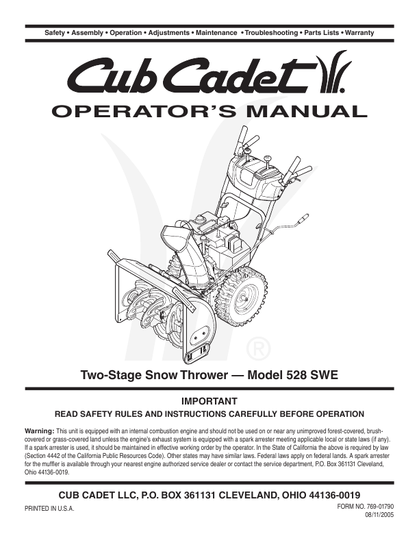 cub cadet snow thrower operator s manual manualsonline com cub cadet 3x 24 snowblower manual cub cadet snow blower owners manual