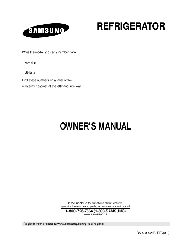 Samsung SR44RMB Instruction Manual