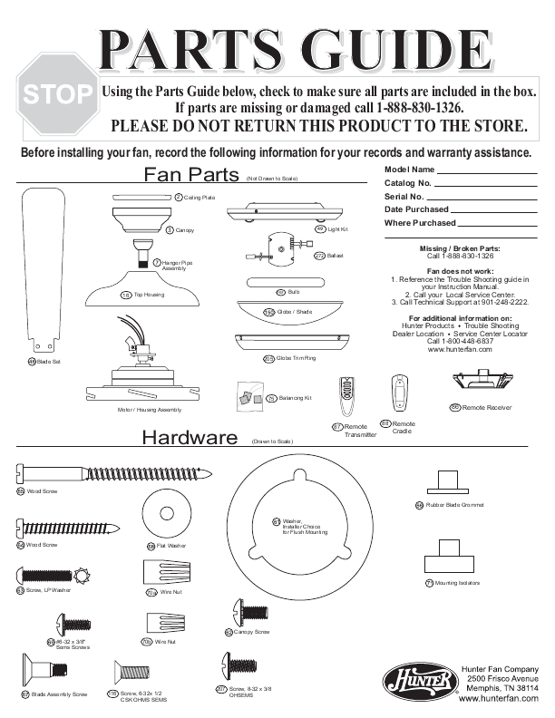 Hunter Fan Fan 21617 User's Guide | ManualsOnline.com