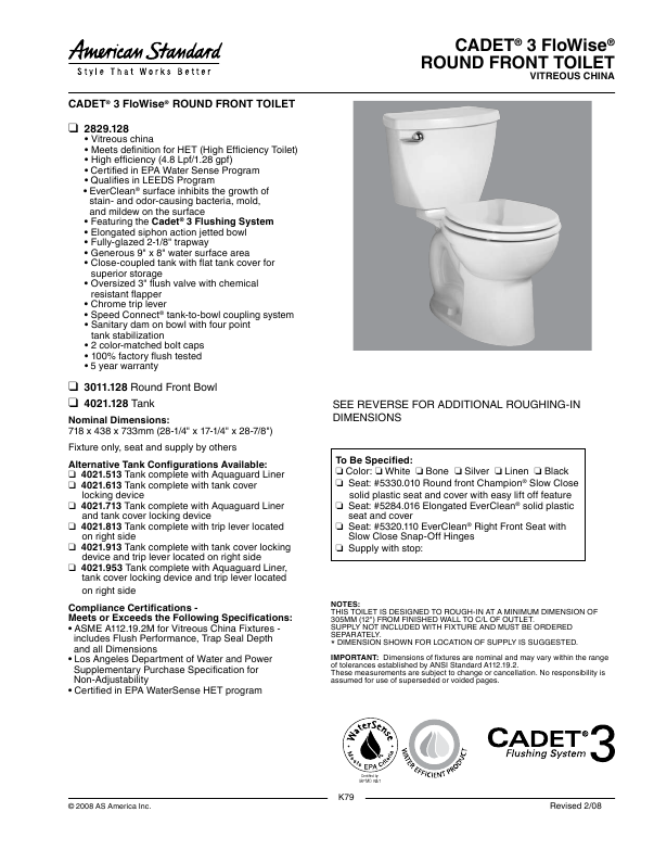 round front toilet dimensions. American Standard Cadet 3 FloWise Right Height Elongated Toilet 4021 128 Search tv dvd combo User Manuals  ManualsOnline com