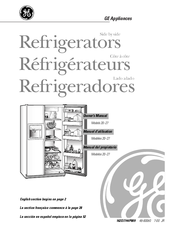search ge appliances 164d4290p381 user manuals manualsonline com rh kitchen manualsonline com general electric refrigerator manual pdf general electric refrigerator manual