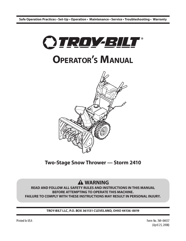 for Troy-Bilt Storm 2410 Snow Blower