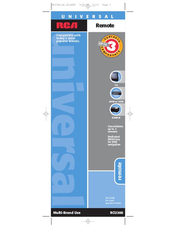 Rca universal remote rcu300 user s guide manualsonline com