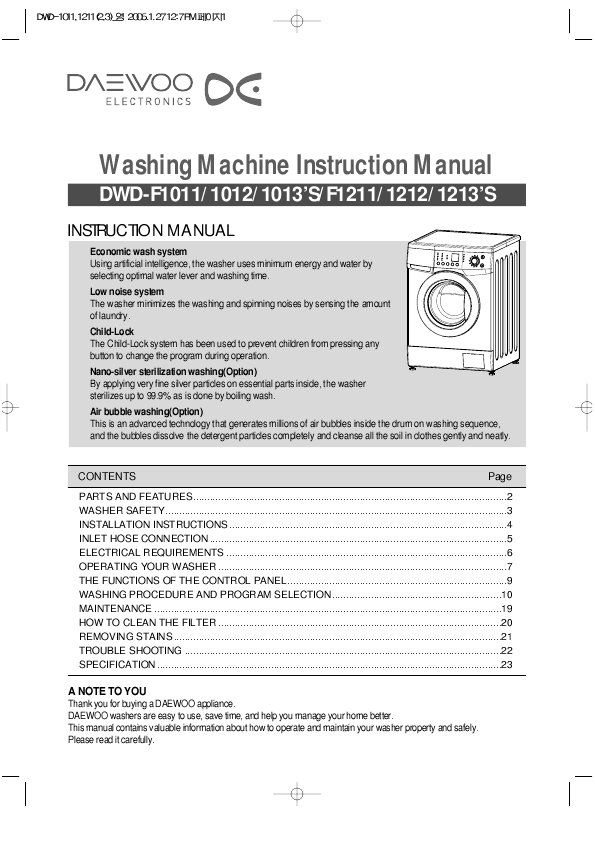 daewoo washer dryer dwd f1011 user 39 s guide