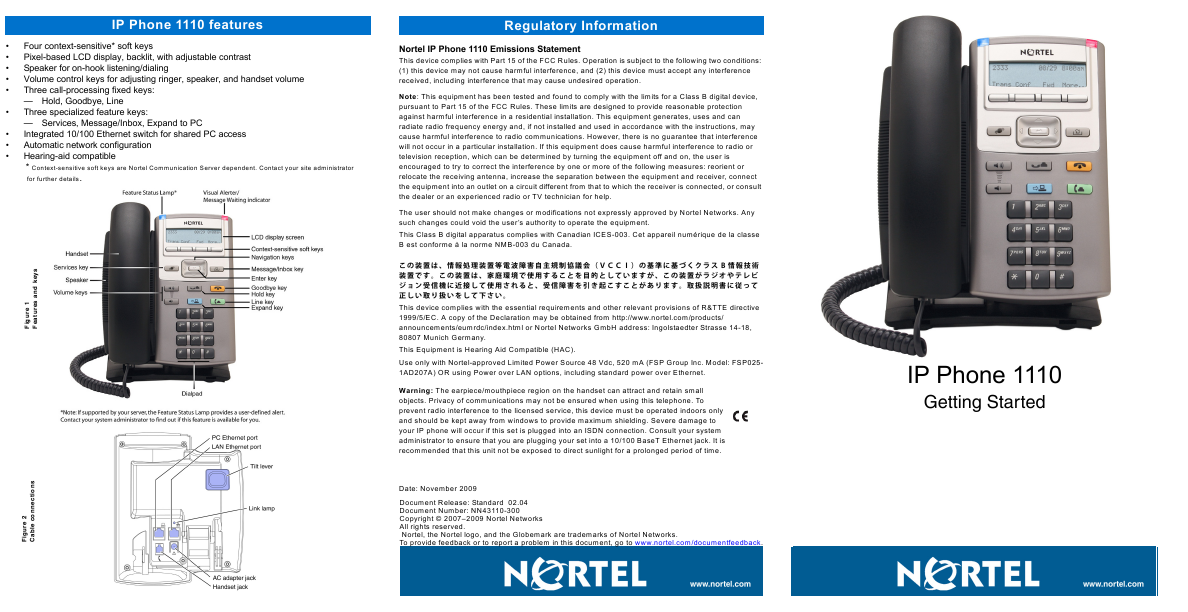 Ip Phone: Nortel Ip Phone 1140e User Guide
