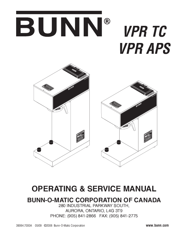 Bunn Coffee Maker User Guide : BUNN OPERATING & SERVICE MANUAL vpr and vps ManualsOnline.com