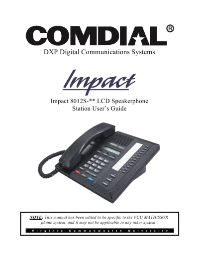 comdial impact phone manual