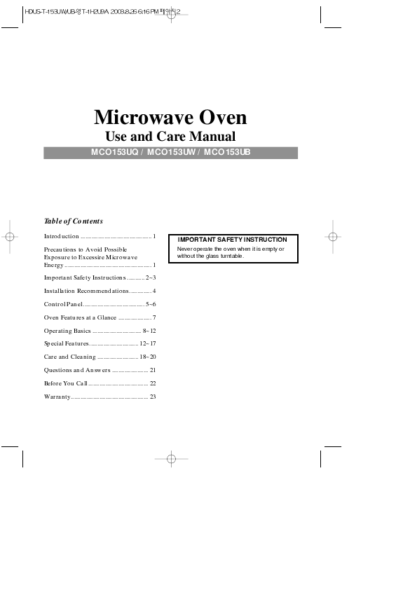 Magic Chef Microwave Oven Mco153uw User S Guide