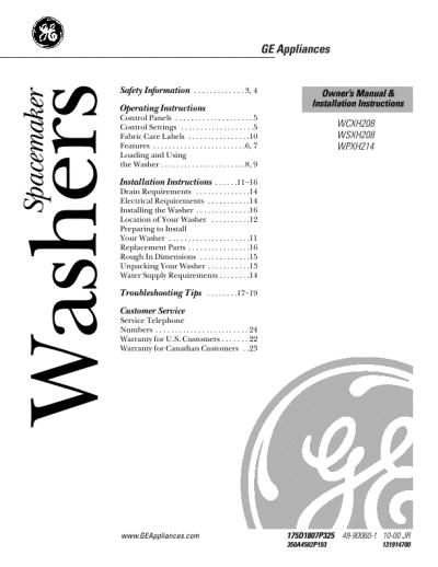 ge washing machine user manual