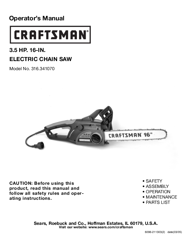 craftsman electric chainsaw model 358 manual
