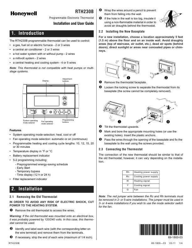 Proselect Thermostat Instructions Manual Guide