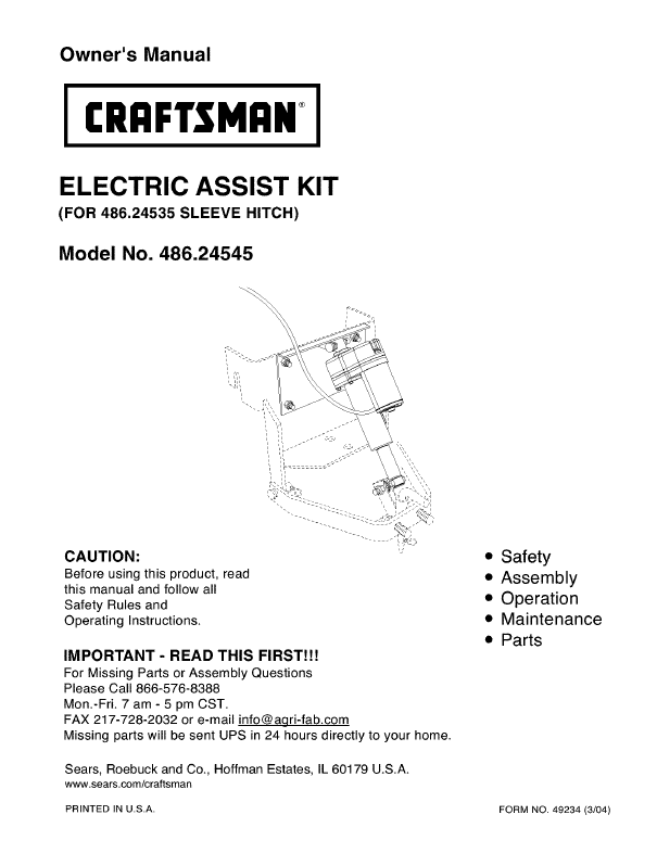 craftsman lawn tractor manual
