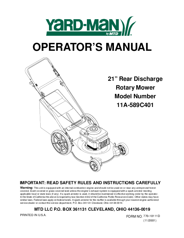 yardman yard bug riding mower manual