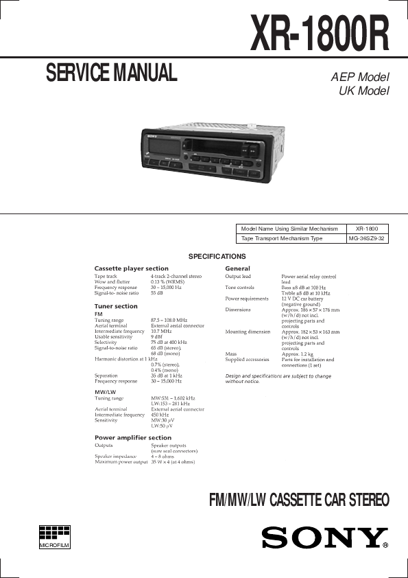 sony car stereo system xr 1800r user s guide manualsonline com Sony Stereo Systems Sony User Manual Guide