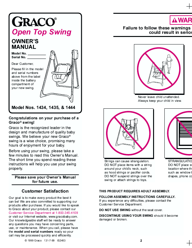 Graco Swing Manual Product User Guide Instruction