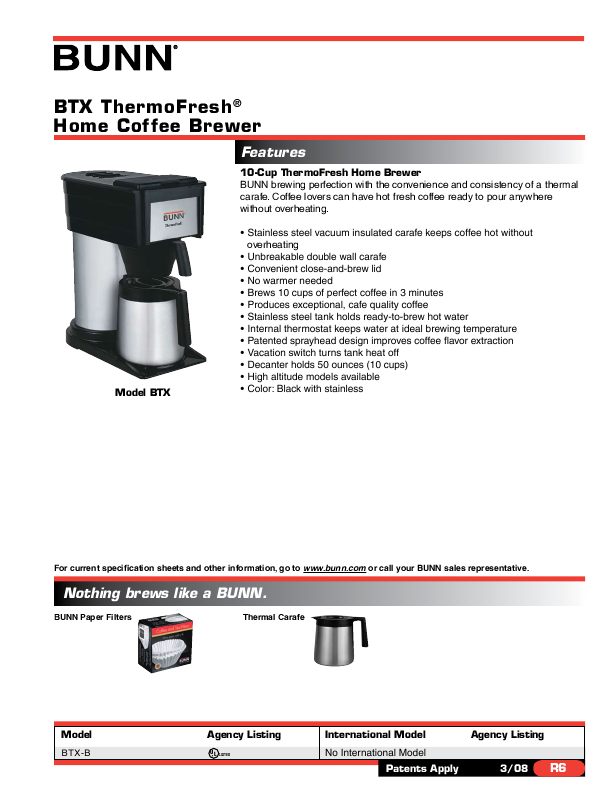 Bunn Coffee Maker User Guide : Bunn Coffeemaker BTX-B User s Guide ManualsOnline.com