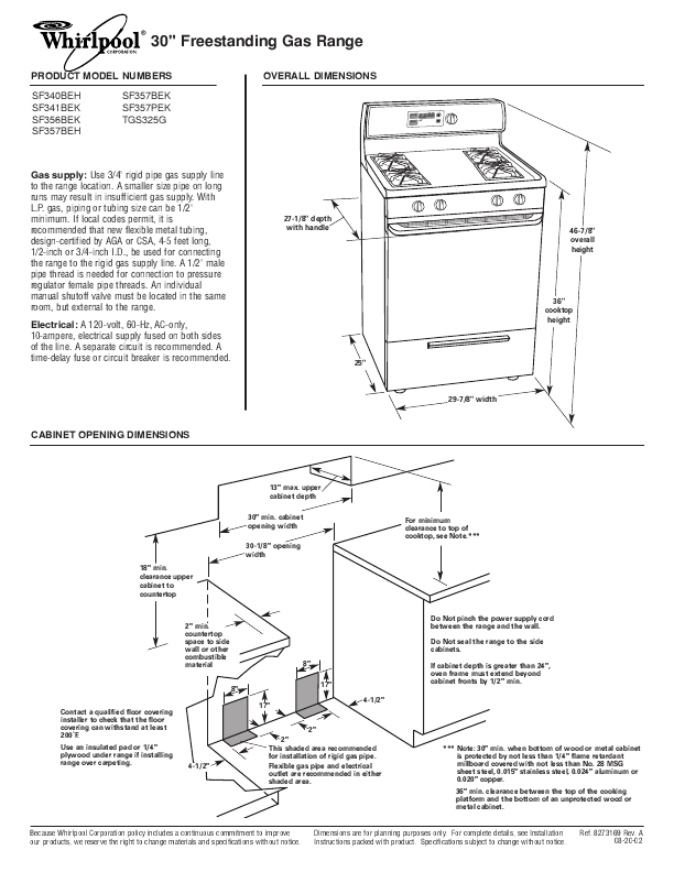 Whirlpool Self Cleaning Gas Range Use Care Guide