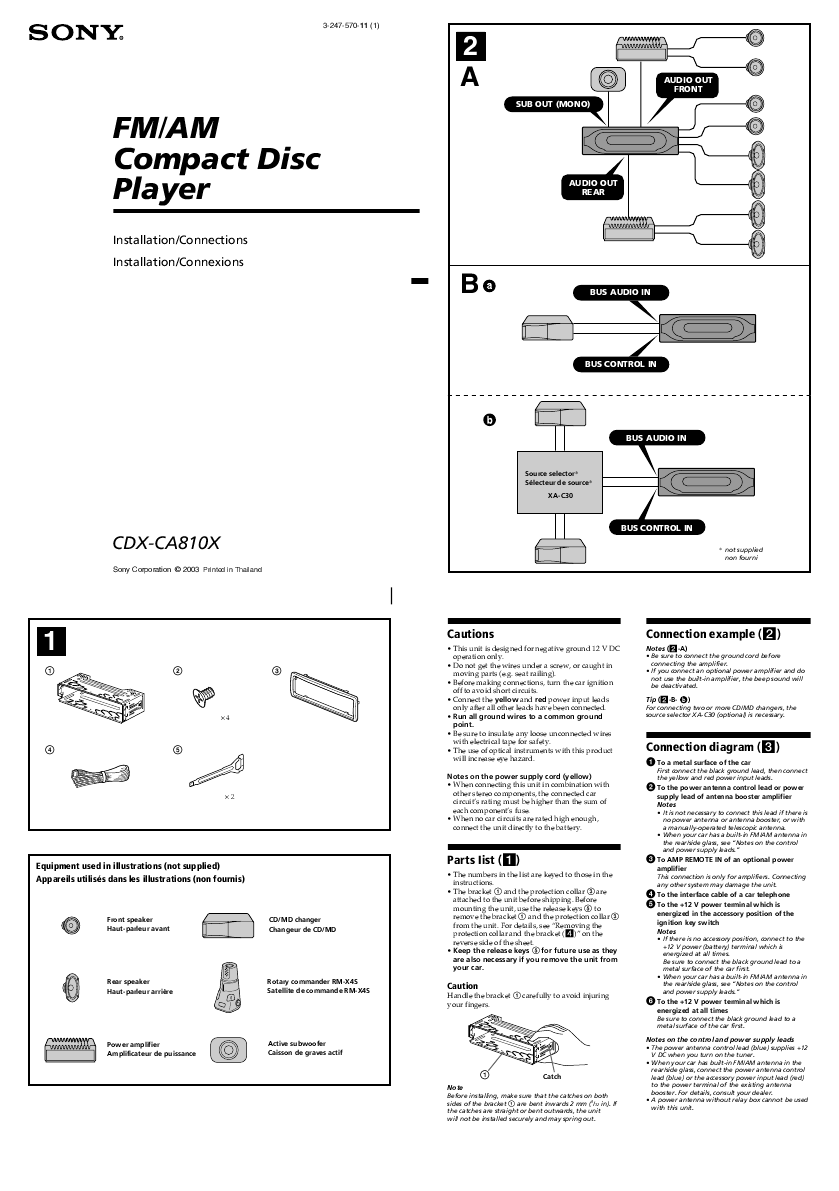 Sony CD Player Wiring Diagram http://audio.manualsonline.com/manuals/mfg/sony/cdxca810x_1.html
