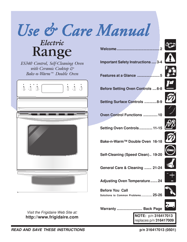 Frigidaire Use Amp Care Manual Electric Range Es340