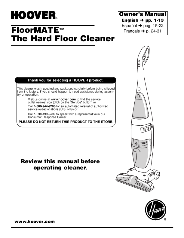 search hoover floormate user manuals manualsonlinecom With hoover floormate hard floor cleaner manual