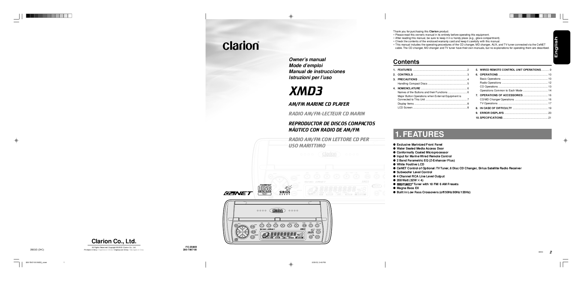 Search Clarion Cz301 User Manuals Manualsonlinecom Marine Xmd3 Wiring Diagram