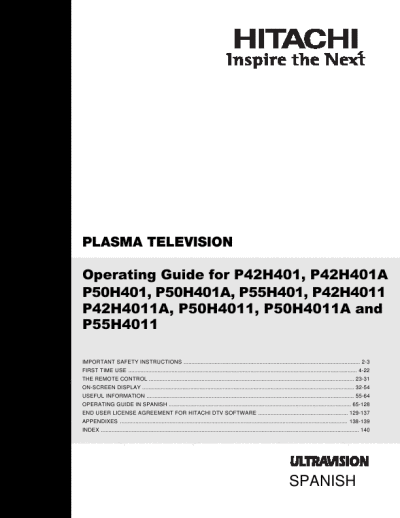 search hitachi plasma tv user manuals manualsonline com rh tv manualsonline com