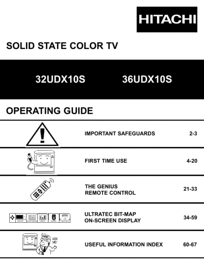 Hitachi Kitchen Appliances on Hitachi Operating Guide Solid State Color Tv 32udx10s  36udx10s