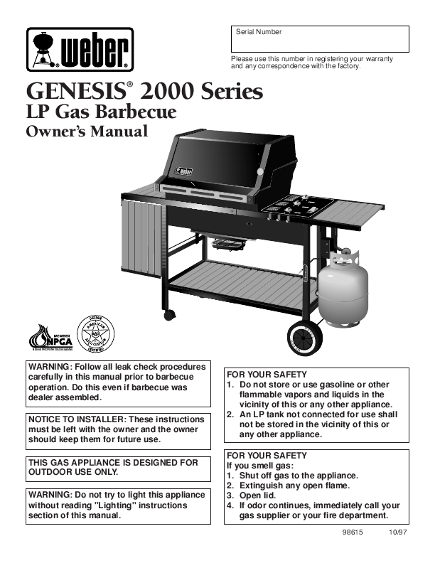 Weber Genesis E 310 Manual User Guide Manual That Easy To Read