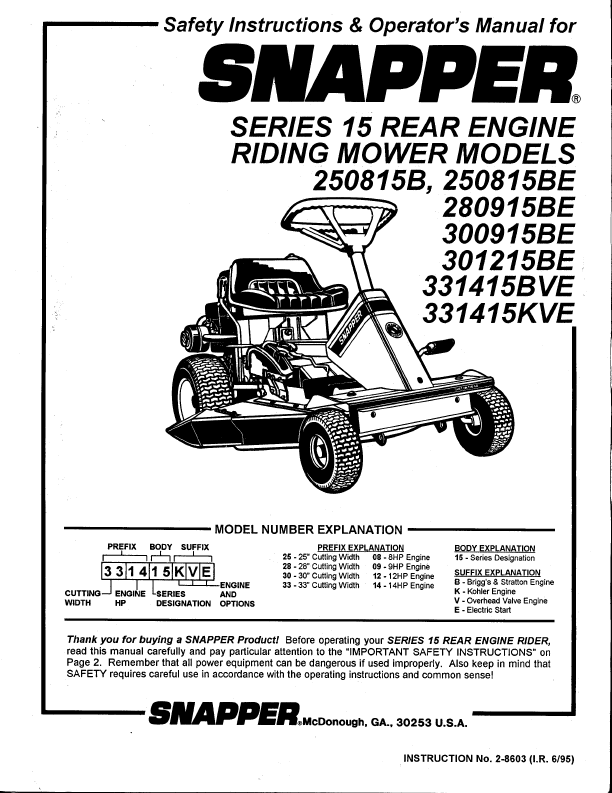 15 rear engine riding mower safety instructions amp operator s manual