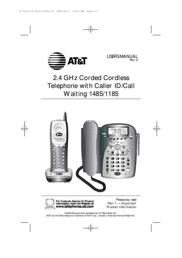 at t cordless telephone 1485 user 39 s guide. Black Bedroom Furniture Sets. Home Design Ideas