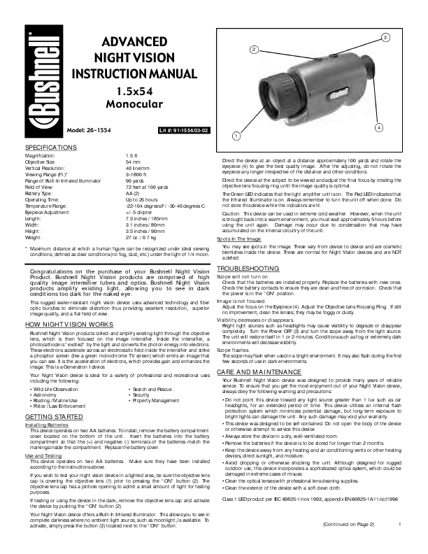 Search bushnell 789612 user manuals manualsonline bushnell night vision advanced 26 26 1554 asfbconference2016 Choice Image