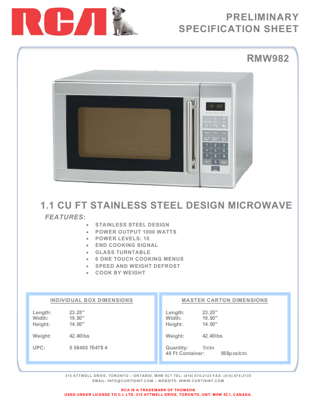 rca microwave oven rmw982 user 39 s guide. Black Bedroom Furniture Sets. Home Design Ideas