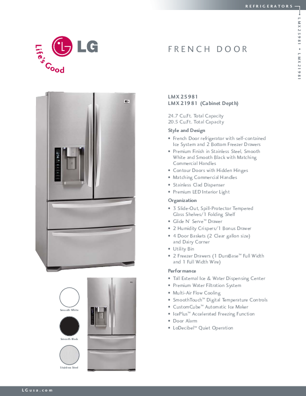 Lg Electronics Refrigerator Lmx25981 User S Guide
