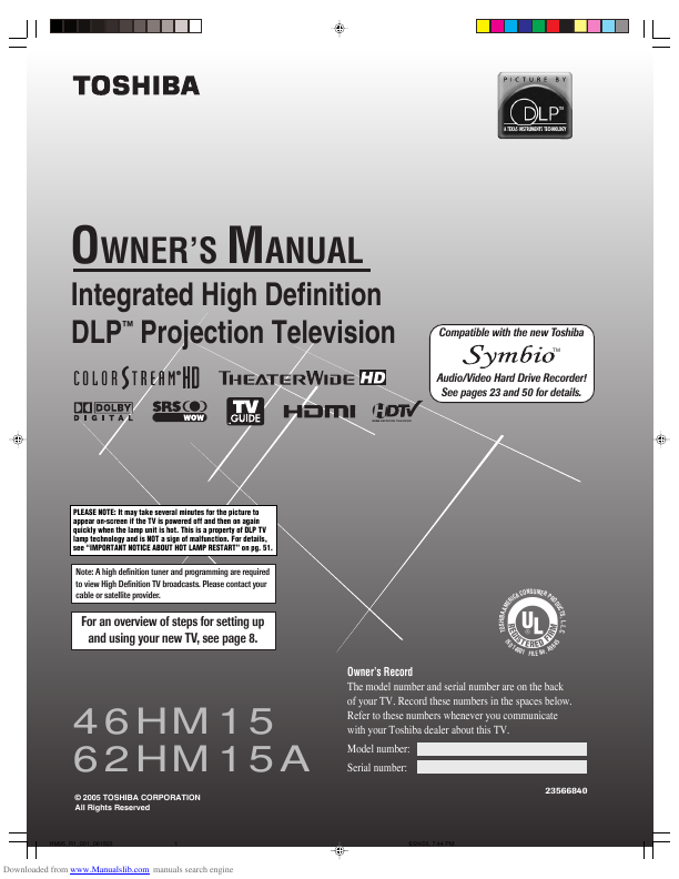 search toshiba toshiba dlp rearprojection tv user manuals rh tv manualsonline com Toshiba Rear Projection TV toshiba 62 inch dlp tv manual